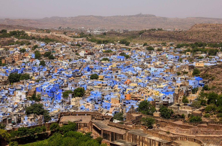 The old city in Jodhpur is entirely painted blue