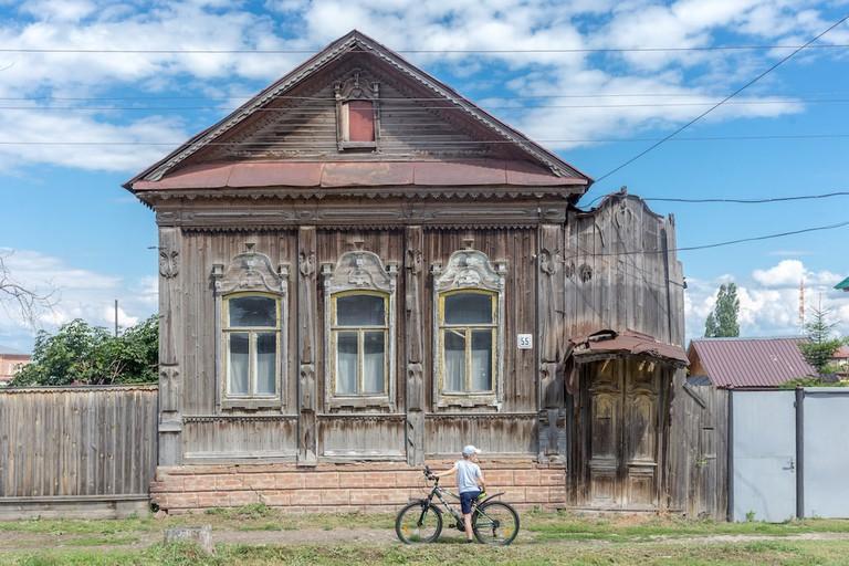 Wood window frames in Khvalynsk, Russia