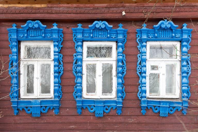 Window frames in Kirzhach, Russia