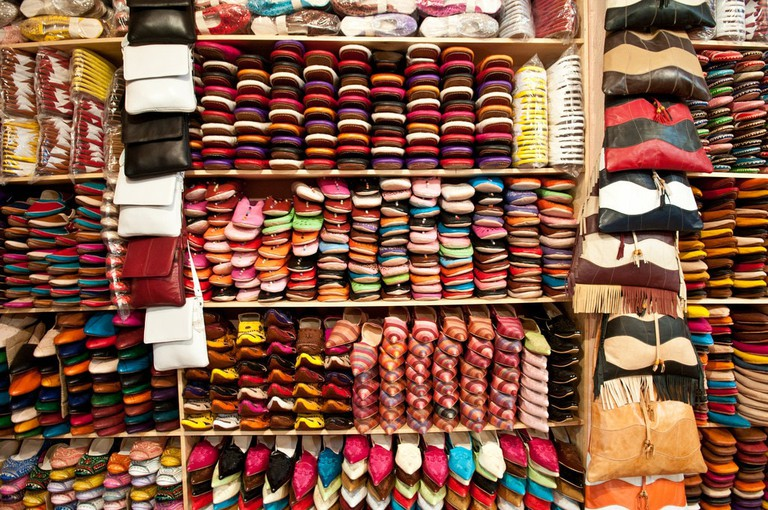 Vibrant leather goods in a Fes market