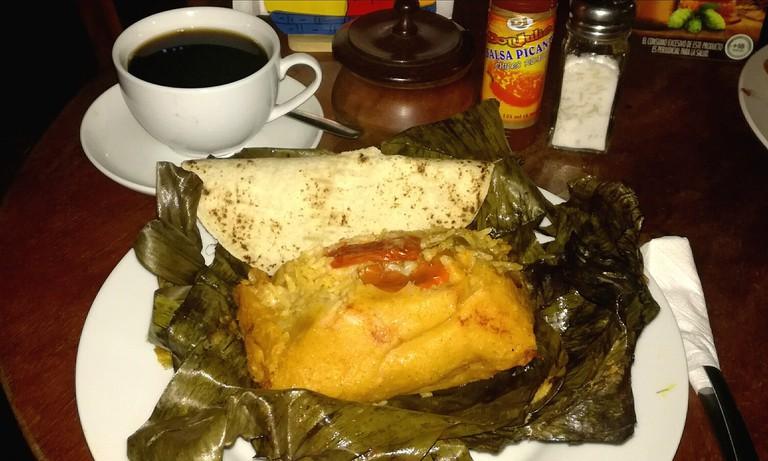 A traditional Nicaraguan nacatamal and coffee