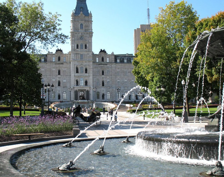 The Fontaine de Tourny east of the Parliament Building in Quebec City