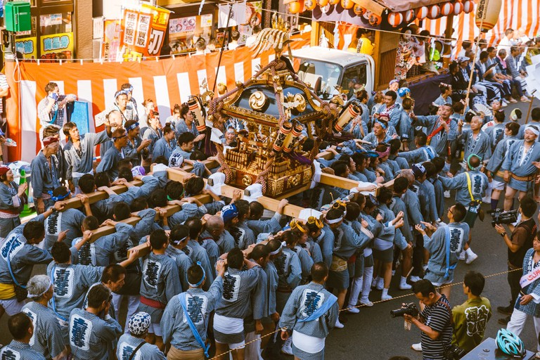 Participants chant to the same rhythm throughout the Kichijoji parade