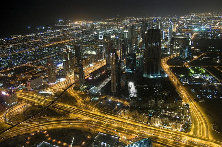 The city of Dubai at night