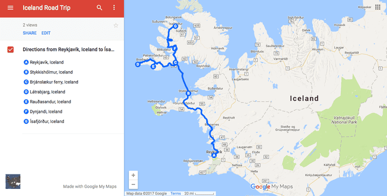 Iceland West Fjords Road trip| © Nikki Vargas/Google Maps