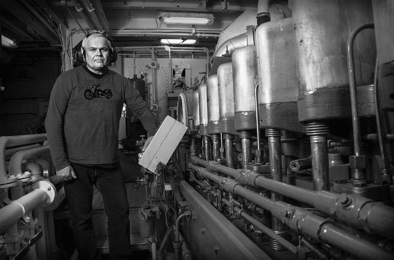 Tryggvi, engineer on the fishing vessel, Frár ve, from Vestmannaeyjar   Courtesy of Rúnar Þórarinsson