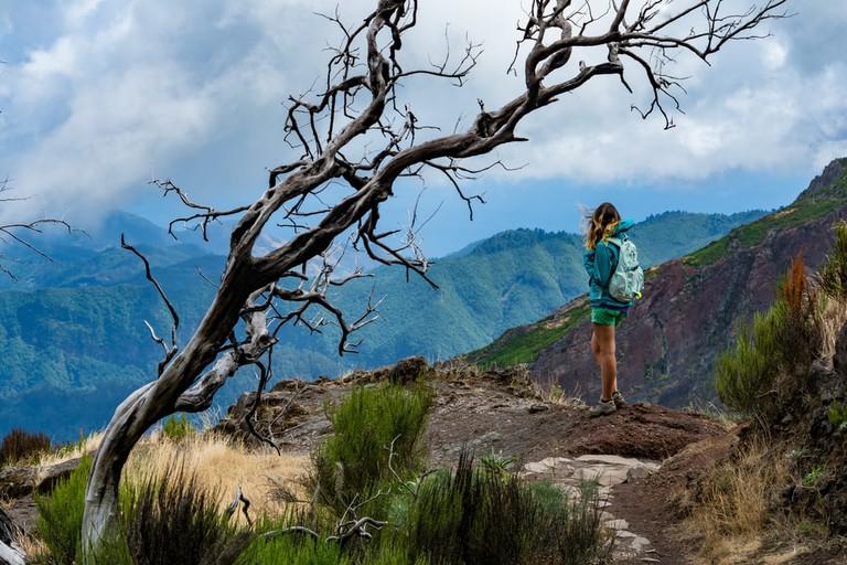 Traveller on Madeira mountain path, Portugal | © Martin Sistek/Shutterstock