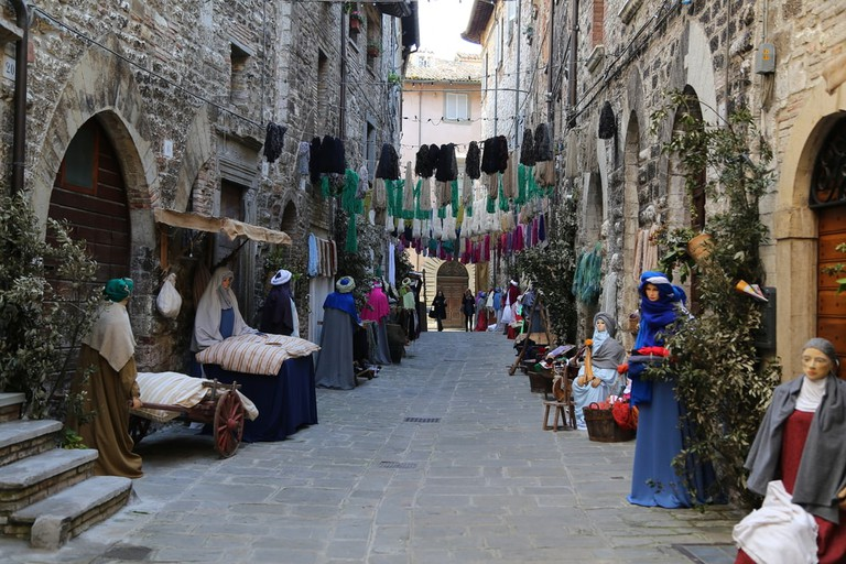 Life-size Nativity scene in Gubbio, Italy