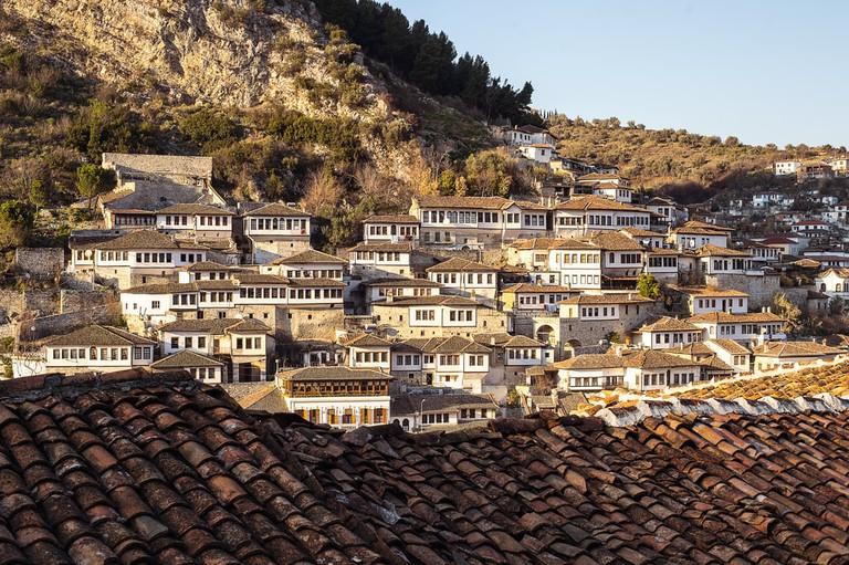 Mangalem quarter in Berat, historic city in the south of Albania