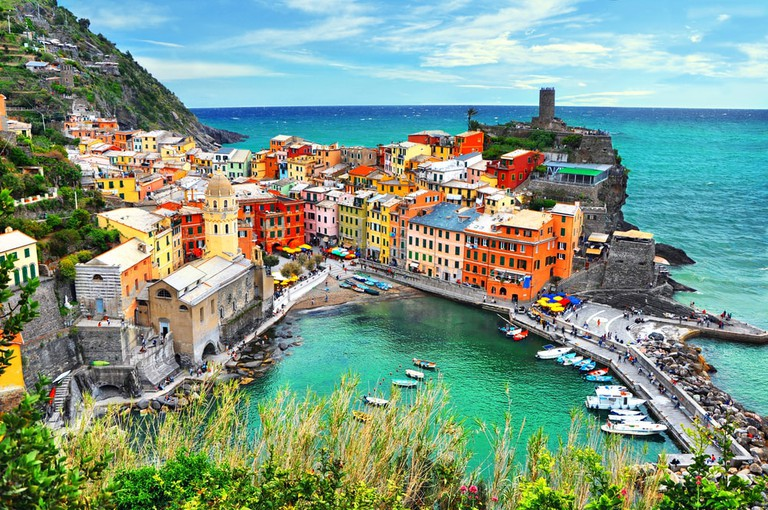 Vernazza is one of five famous colorful villages of Cinque Terre