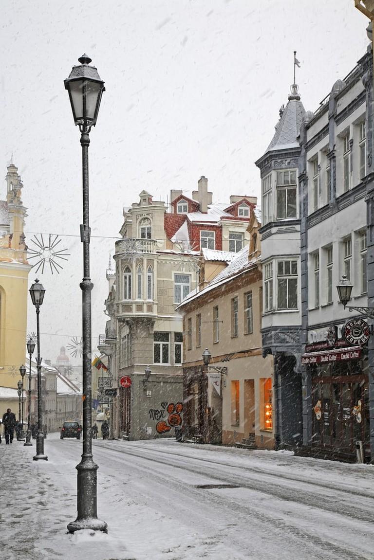 Snowy street in Vilnius, Lithuania