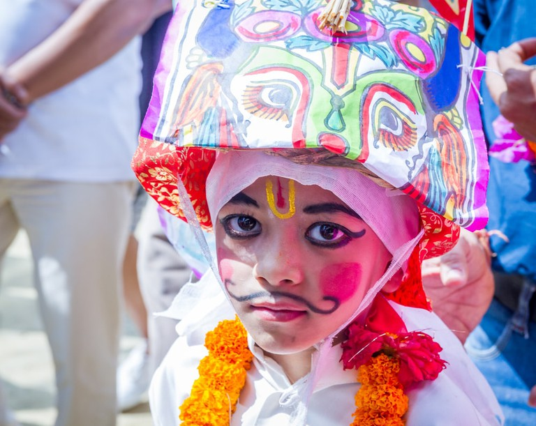 Gai Jatra, The festival of cow is celebrated mainly in the Kathmandu Valley to commemorate the death of loved ones