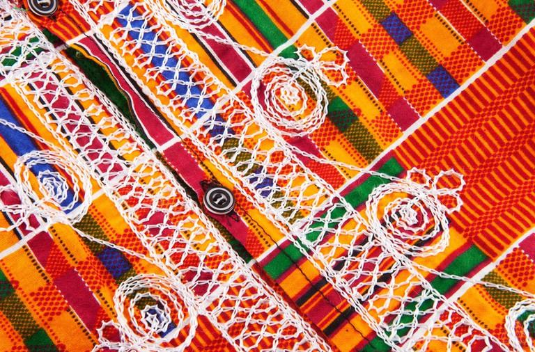 Woven kente fabric
