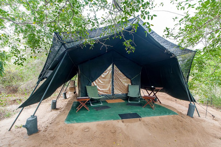 *note to editor : this photo was given to me with permission from the Leopard Trails dropbox photo database* A Tent set up in Wilpattu with Leopard Trails