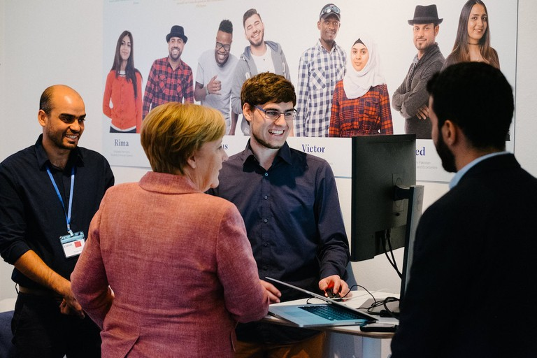 German Chancellor Angela Merkel meeting Kiron founders