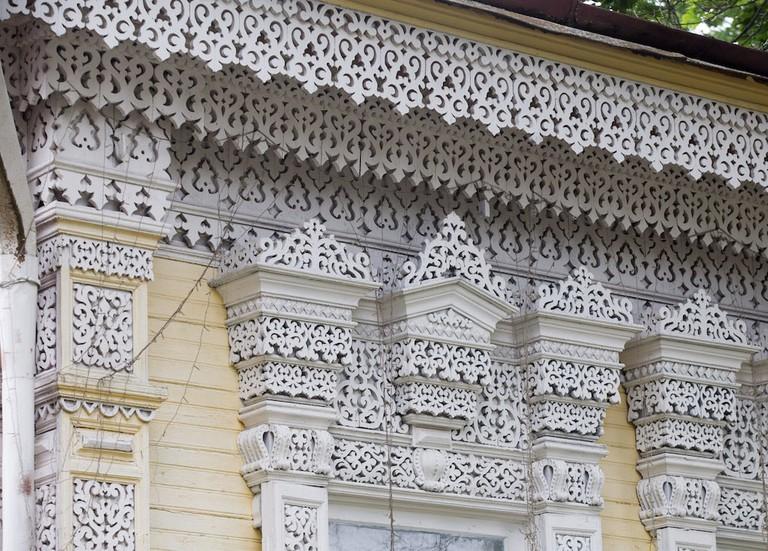 Ornate wood decorations in Zlynka, Russia