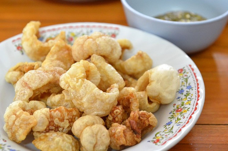 Chicharon with a side of suka (vinegar)