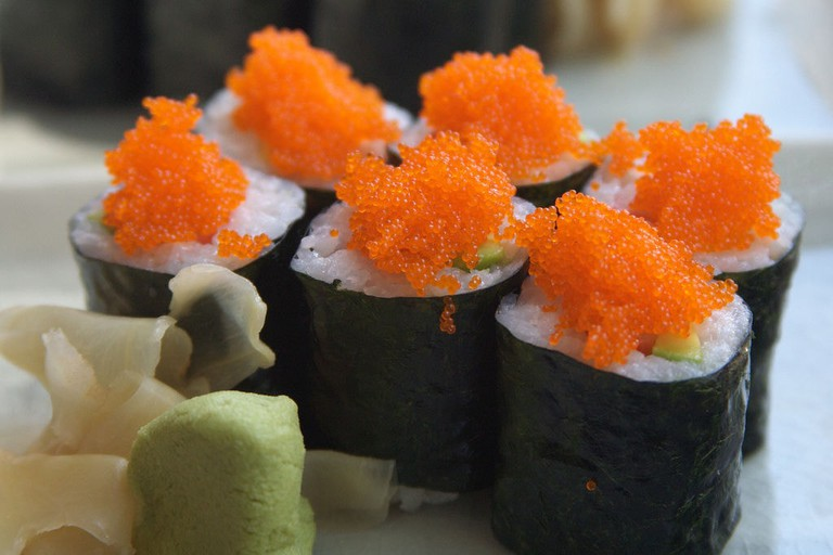 Norimaki stopped with fish roe