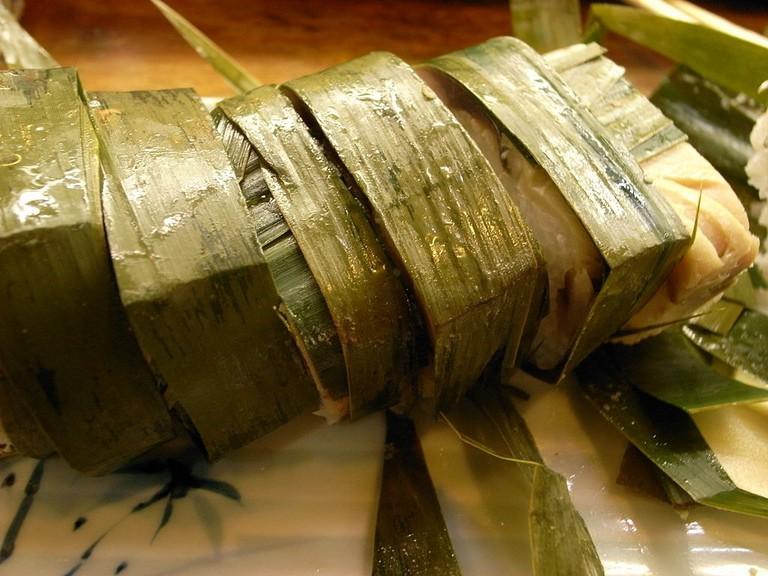 Nare sushi made with cured mackerel (saba)