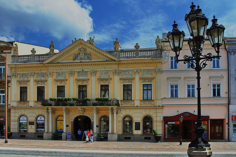 The pretty yellow Old Town Hall in the center of Kosice houses the official Tourist Office