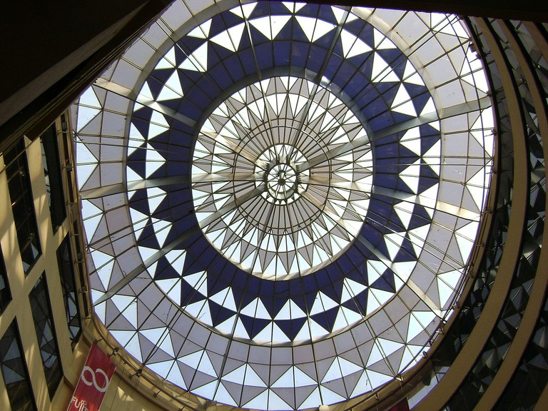 A painted glass roof at the third phase of Spencer Plaza