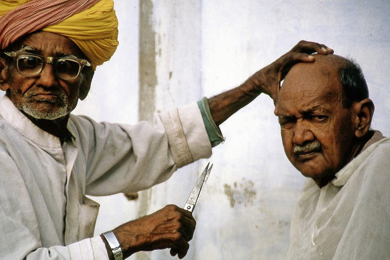 Traditional Indian barber