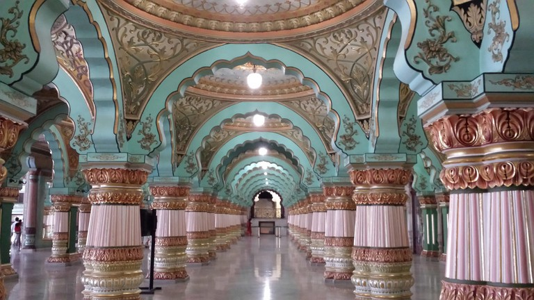 The interiors of Mysore Palace is full of mural art