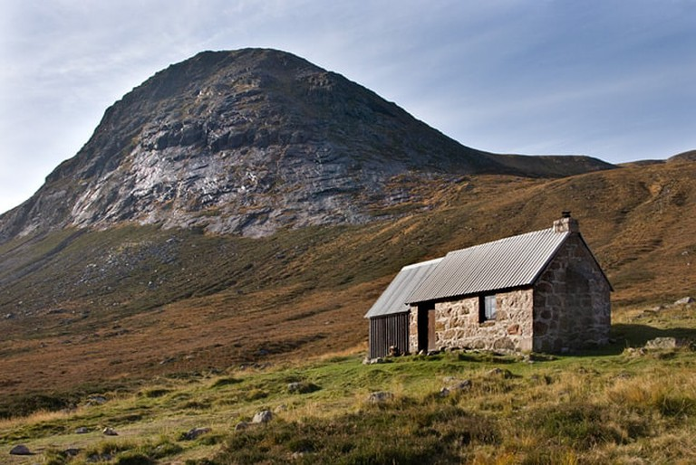 A bothy with a wooden extension