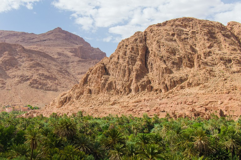 Reddish rocks of Morocco's Todra Gorge