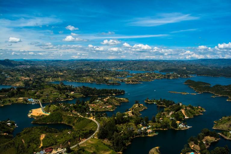 The beautiful waters of Guatape lake