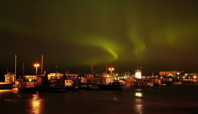 Northern lights over Lahti harbour