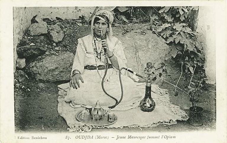 Lady smoking a hookah
