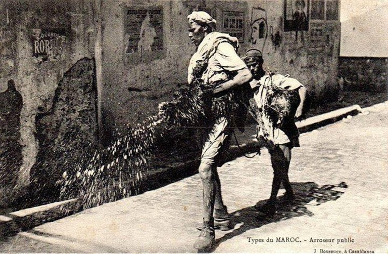 Man cleaning the streets of Casablanca