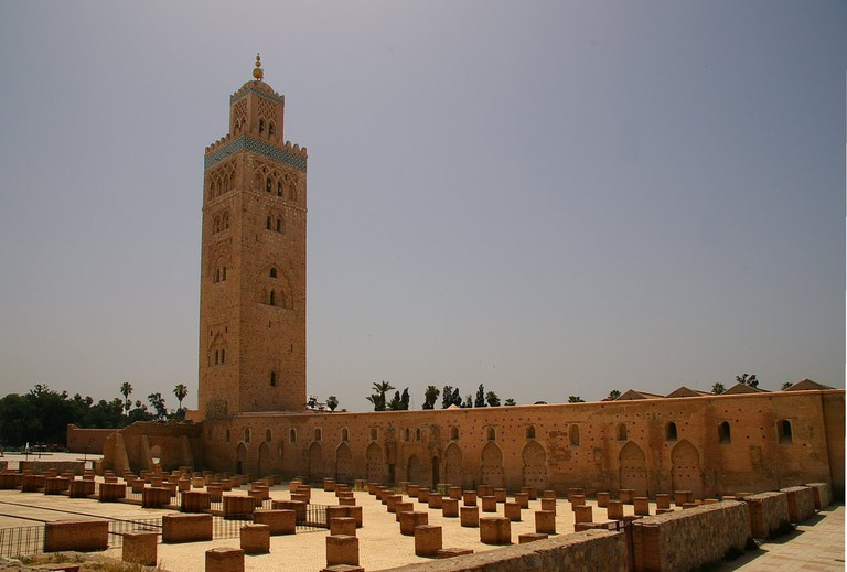Tall minaret of Koutoubia Mosque in Marrakech