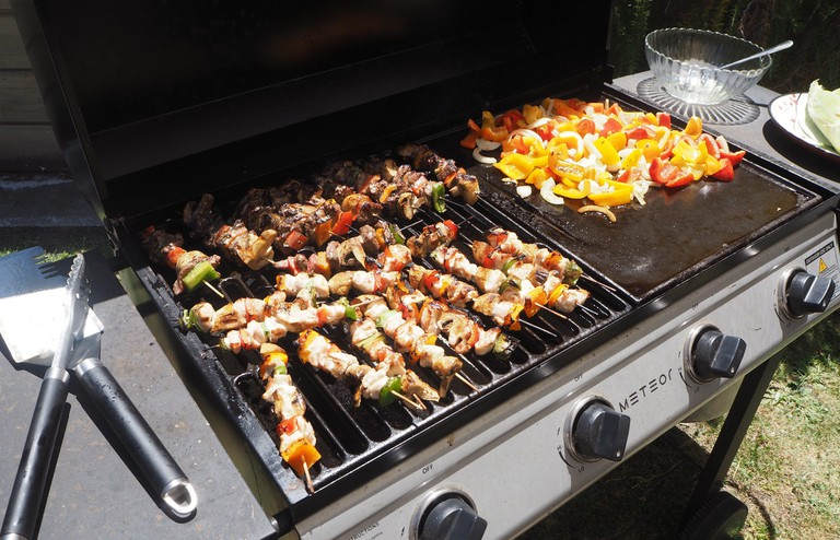Kebabs and Vegetables Cooked on a New Zealand Barbecue