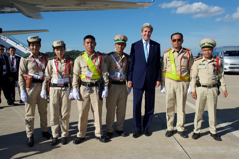 Secretary Kerry and Lao Traffic Police
