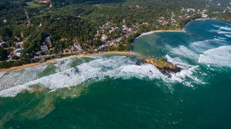 Mirissa beach from the sky