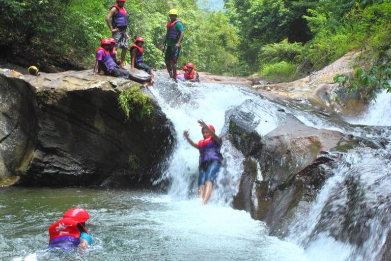 Sliding down a waterfall!