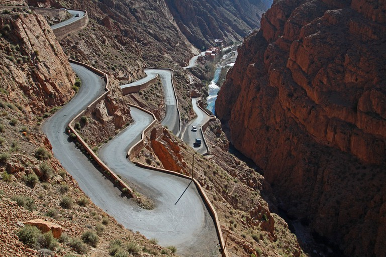 Twisting road and soaring rocks of Morocco's Dades Gorge