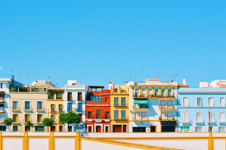 Colourful building facades in the Triana neighbourhood