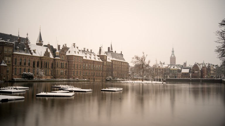 The Dutch houses of parliament in the Hague capped with snow