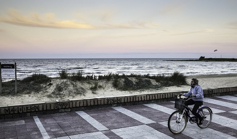 Cycling in Montevideo, Uruguay, around the promenade