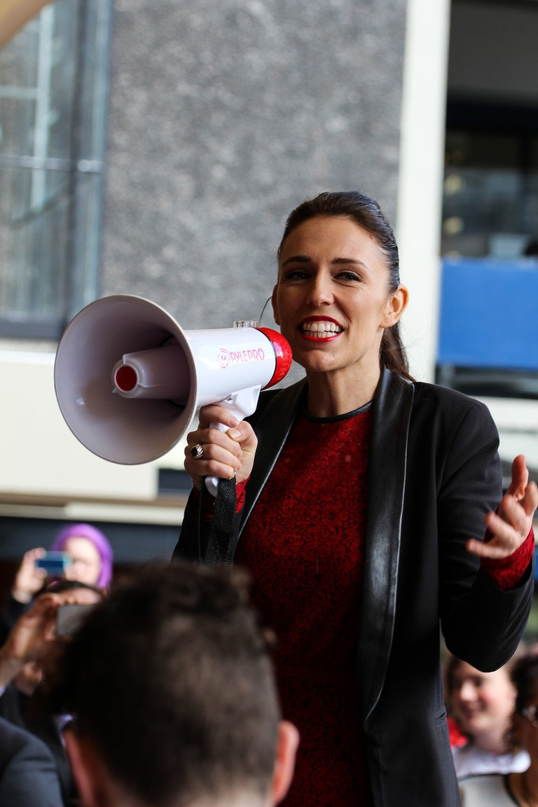 Jacinda Ardern campaigning at the University of Auckland, 1 Sept 2017