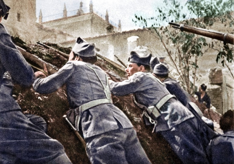 Colorisation of a scene from the Spanish Civi War © Cassowary Colorizations