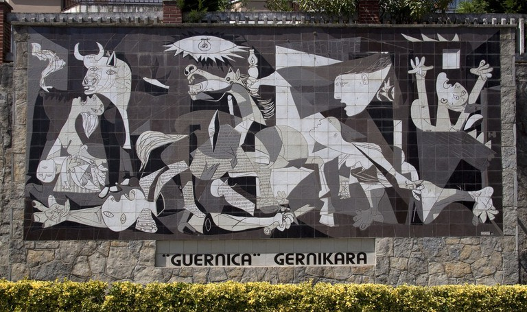 The tiled replica of Picasso's painting in Guernica, Spain