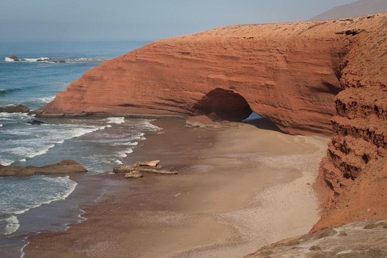 The natural stone arch at Legzira Beach, Morocco