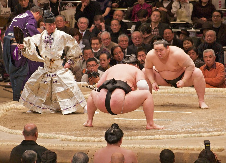 Yokozuna Asashoryu gets ready for a bout with his opponent