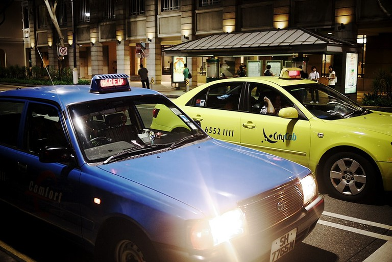 Blue & yellow taxis in Singapore