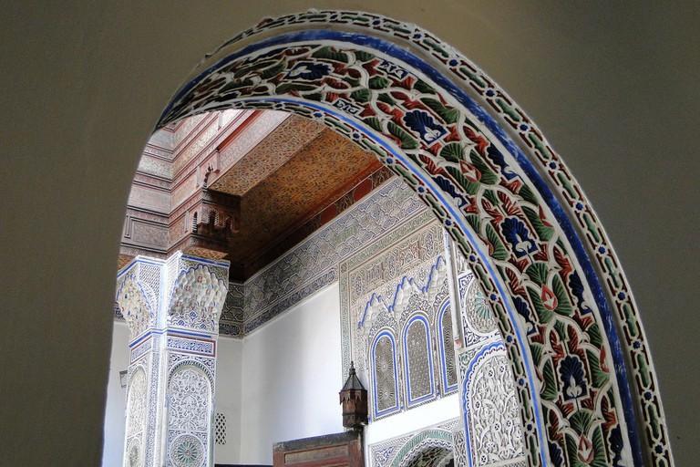 Intricate details within Dar Jamai, Meknes
