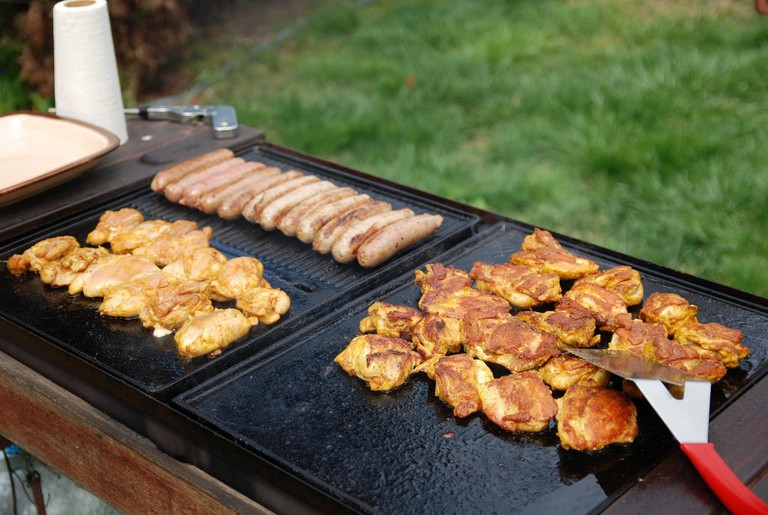 Sausage, Chicken and Lamb on a Barbecue